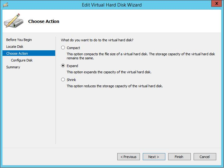 Расширить vhdx диск HyperV 2012 R2