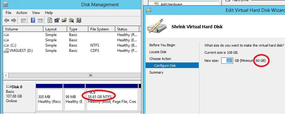 Сжать vhdx файл в windows server 2012 r2