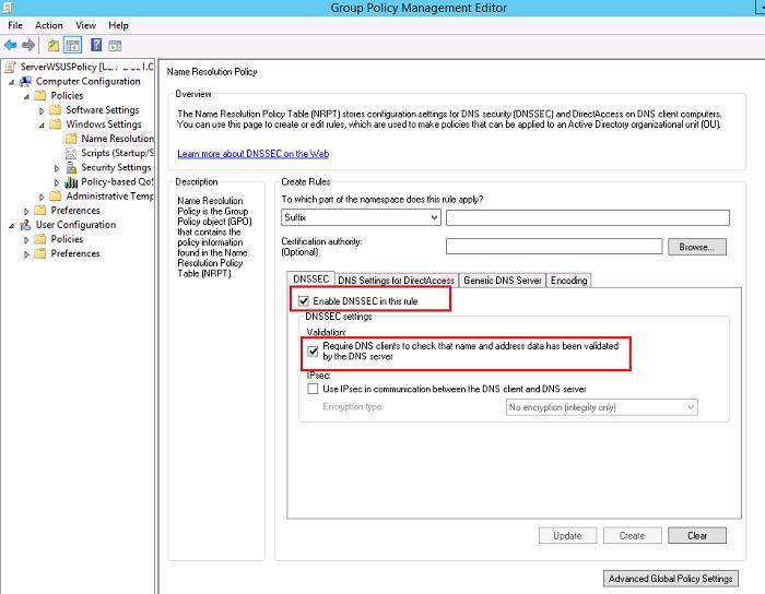 Включить обязательную проверку dnssec на клиентах Windows