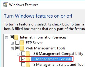 Windows 10 - установка IIS Management Console