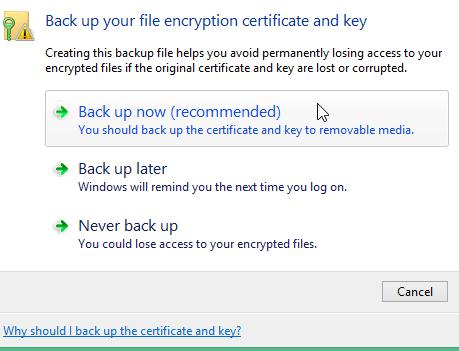 backup certificates efs windows 8