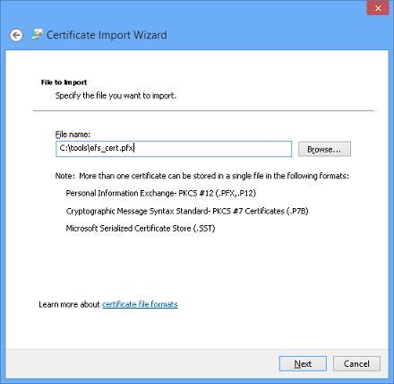 Путь к файлу pfx сертификата efs
