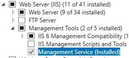 Установка Web Management Service для IIS в Windows 10