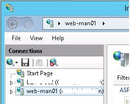 удаленное управление iis8 из консоли iis в windows server 2012