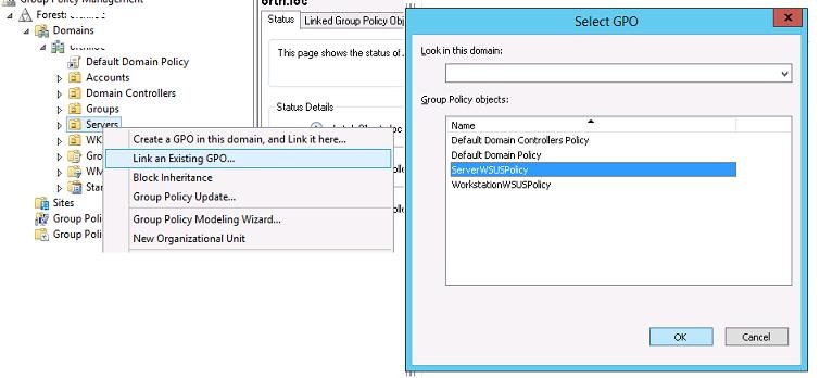 Привязка групповой политики wsus к OU Active Directory