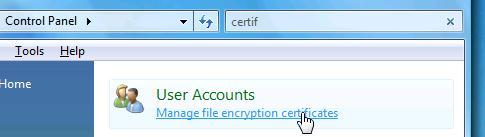 управление сертификатами шифрования
