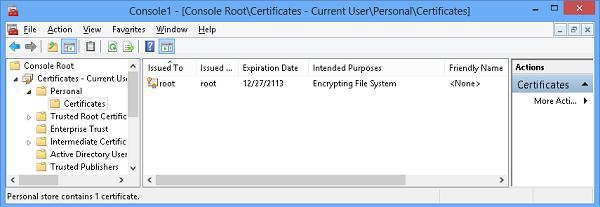 консоль управления сертификатами