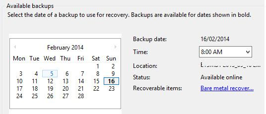 Выберите дату и время создания резервной копии exchange