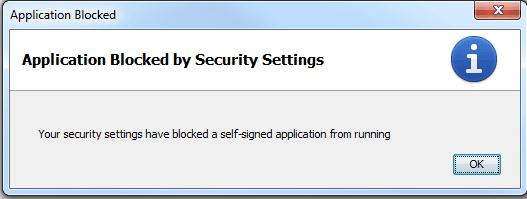 Java Your security settings have blocked a self-signed application from running