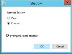 параметры теневого подключения к терминальной сесиии