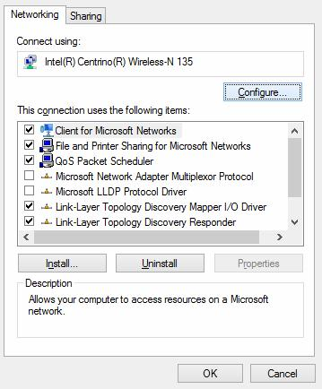 Параметры wifi адаптера в Windows