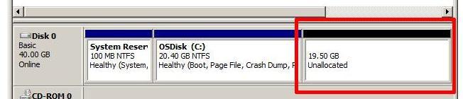 неразмеченная область диска в гостевой ОС на vmware