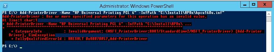 Add-PrinterDriver ошибка установки драйвера печати из inf файла