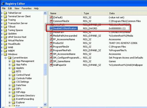 Ключ DisableEOSNotification - обновление с окончанием поддержки kb2934207
