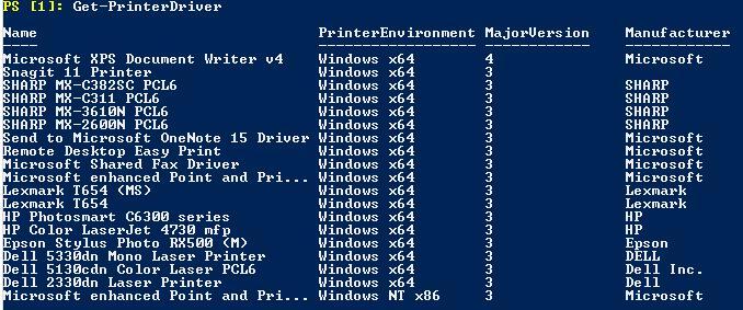 Get-PrinterDriver вывод списка установленных драйверов для принтеров