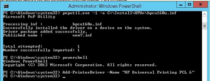 Установка драйвера принтера в DriverStore(Windows 8)