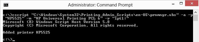 prnmngr.vbs установка принтера hp из командной строки