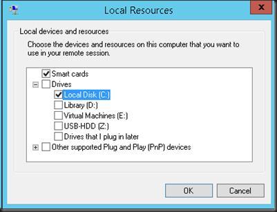Перенеправление локальных ресурсов в сесиии hyper v с помощью ESM