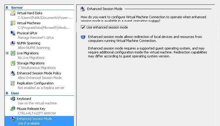 hyper-v всегда подключаться в режиме enhanced session mode