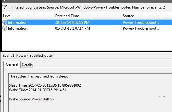 Событие в журнале Windows 8 - компьютер проснулся после спящего режима.