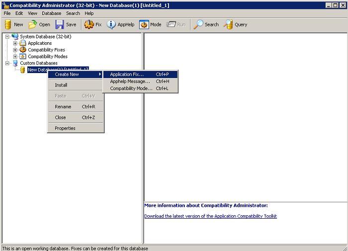Окно Compatibility Administrator (32-bit).