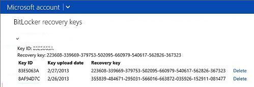 Ключи восстановлений BitLocker в аккаунте на сайте Microsoft