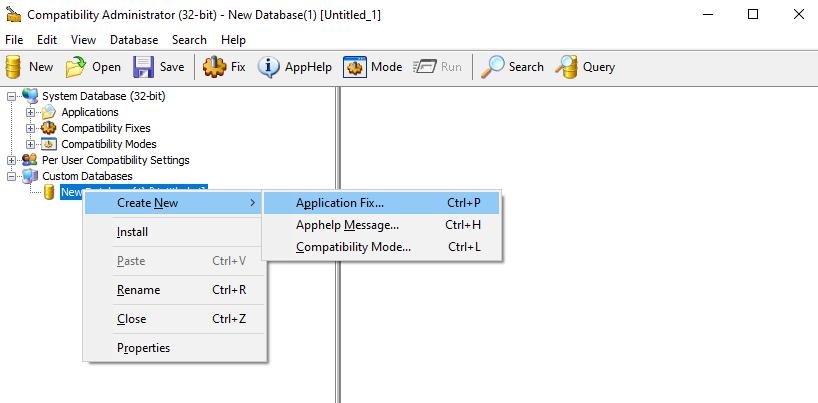 create application fix