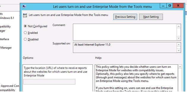 Включить enterprise mode в IE 11 с помощью групповой политики