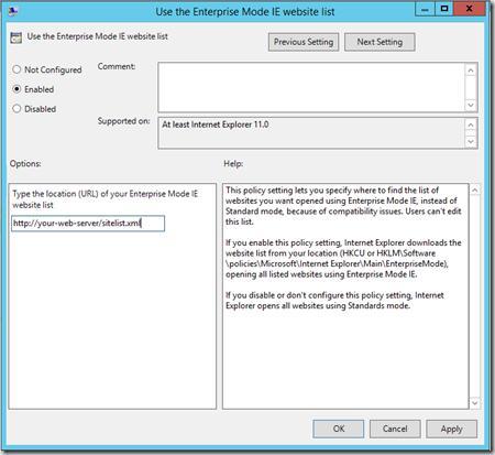 путь к файлу со списком сайтов отображаемых в режиме предприятия