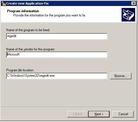 выбираем программу, для которой нужно отключить UAC (например, regedit)