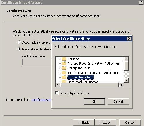 Добавляем сертификат в доверенные