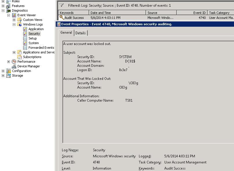 Событие блокировки учетной записи на контроллере домена AD. eventid 4740