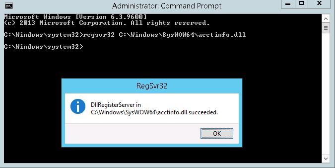 regsvr32 C:\Windows\SysWOW64\acctinfo.dll
