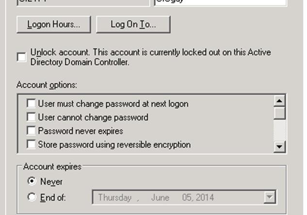 Снять блокировку с учетной записи пользователя домена