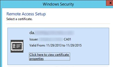 Указываем сертификат directaccess