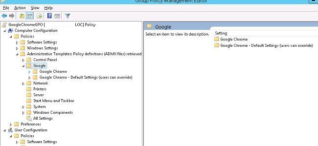 Раздел политик GPO: Google Chrome