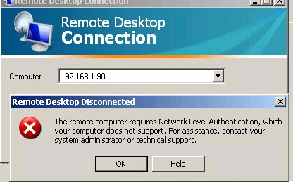 The remote computer requires Network Level Authentication, which your computer does not support. For assistance, contact your system administrator or technical support
