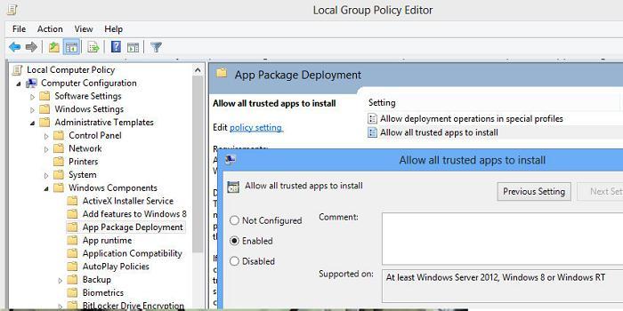 Windows 8  - установка доверенных appx приложений без магазина приложений Windows