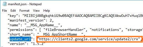 update_url у расширения Chrome