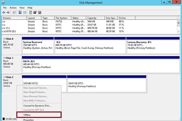 hyper-v - перевести usb жесткий диск в режим offline
