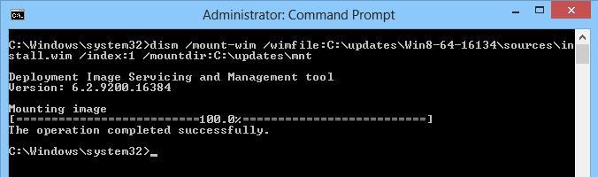 монтируем файл образа install.wim в Windows 8