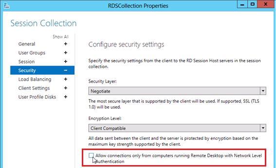 windows 2012 remote desctop services отключаем nla для возможности rdp подключения из Windows XP