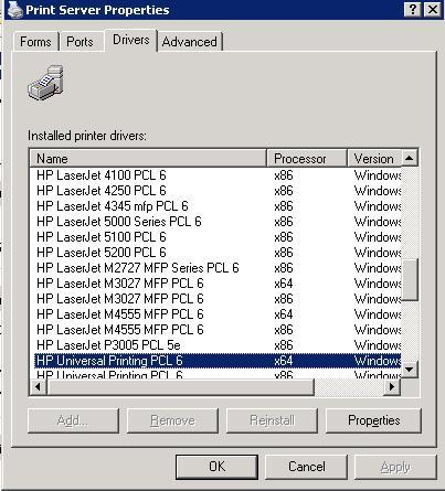Принт-сервер x86 и x64 версии драйвера HP Universal Printing PCL 6