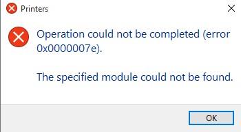 Операция не может быть завершена (ошибка 0x0000007e). Указанный модуль не найден