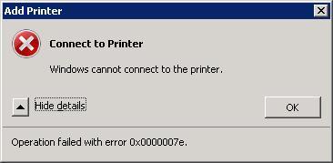 Ошибка 0x0000007e при подключении принтера HP на Windows 7 x64