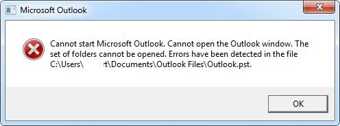 Cannot start Microsoft Outlook. Errors in the file ….outlook.pst