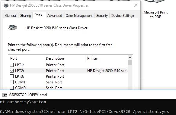 подключить сетевой принтер через локальный lpt порт