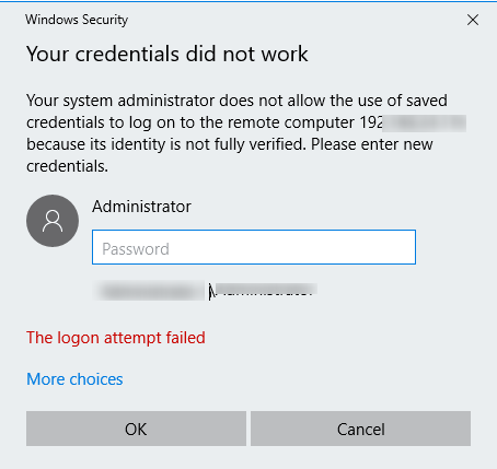 Your system administrator does not allow the use of saved credentials to log on to the remote computer