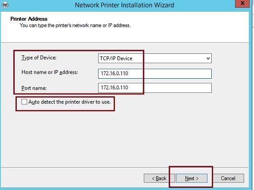 IP адрес сетевого принтера