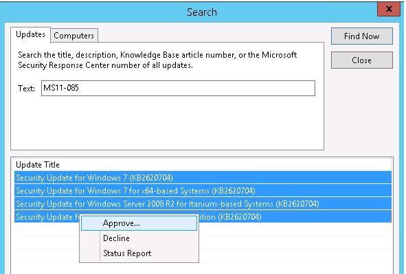 windows update - одобрение обновлений